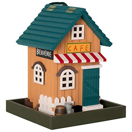 Gardigo Vogelfutterhaus aus FSC Holz I Dekoratives Vogelhaus zum Aufhängen | Futterhaus Cafe für Garten, Balkon und Terrasse