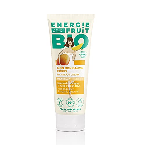 ENERGIE FRUIT   Baume Corps Nourrissant   Certifié BIO par Ecocert   Beurre de Mangue & Huile d'Argan   Vegan   200ml