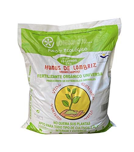 LOMBRICOR Humus de Lombriz Ecológico 6KG (10 L). Abono para Todo Tipo de Plantas y Cultivos.