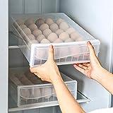 30個 卵ケース/卵容器/単層、蓋と引き出し付き、衝突防止、積み重ね可能、省スペース、卵を保護して新鮮に保つ