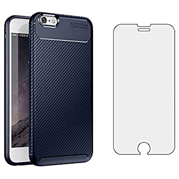 Phone Case for iPhone 6plus 6splus 6/6s Plus with Tempered Glass Screen Protector Cover and Cell Accessories Slim Thin TPU Silicone iPhone6 6+ iPhone6s 6s+ i 6X 6a S Six iPhone6splus Cases Blue