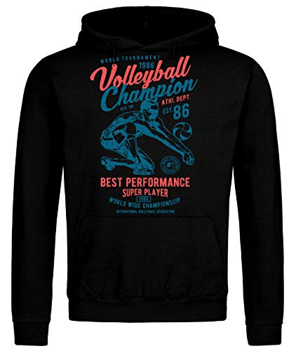 Sudadera con capucha vintage de voleibol Champion World Tournament Negro 115 cm