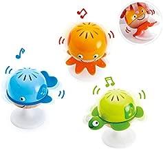 Hape Put-Stay Rattle Set   Three Sea Animal Suction Rattle Toys, Baby Educational Toy Set, Multi, 5'' x 2'' (E0330)
