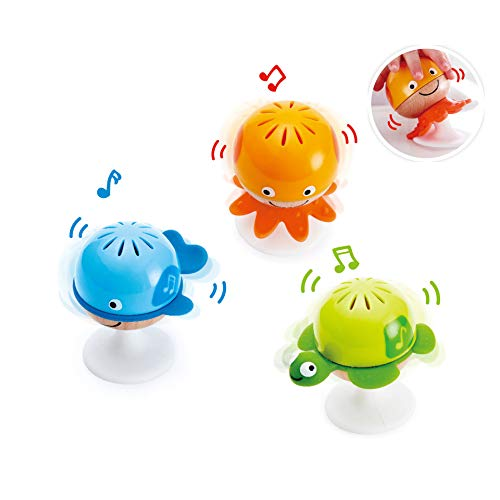 Hape Put-Stay Rattle Set | Three Sea Animal Suction Rattle Toys, Baby Educational Toy Set, Multi, 5'' x 2'' (E0330)