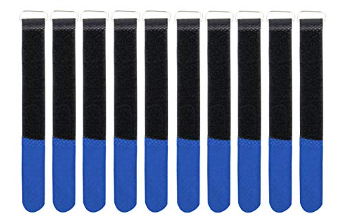 Infitronic INPKB2030BLU - 10 x Klett-Kabelbinder mit Metall-Öse Klett/Flausch auf UNTERSCHIEDLICHEN Seiten (20 x 300 mm Blau)