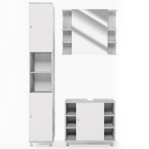 Vicco Badmöbel Set Badezimmermöbel Fynn Spiegel + Unterschrank + Midischrank + Hochschrank (Set 3, Beton)
