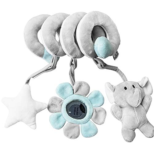 RAILONCH Cadena en espiral de actividad, animal/tela espiral para agarrar y sentirse para cama, cochecito, parque infantil, adaptable, para bebés y niños pequeños a partir de 0 meses (elefante gris)
