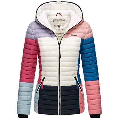 Navahoo Damen Jacke Steppjacke Übergangsjacke gesteppt Colour Blocking B841 [B841-Multikulti-Dark1-Gr.S]