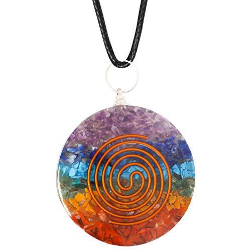 Art of Creation Orgone Energy Rainbow Pendant necklace | EMF Protection | Spiritual Crystal Healing | 7 Chakra Stone Radiation Protection Energy PendantNecklace
