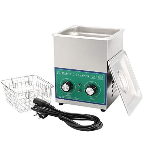 2L Mechanischer Ultraschallreiniger, Edelstahl-Ultraschallbad-Reinigungsbehälter mit Timer und Heizung, für Schmuck/Gläser/Münzen/Metallteile-Reinigung