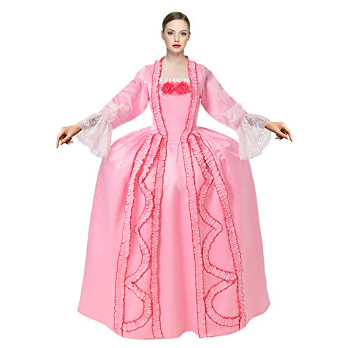 GRACEART Damen Gothic Viktorianisches Kleid Viktorianisches Rokoko-Kleid Maxi Kostüm (Rosa, L)