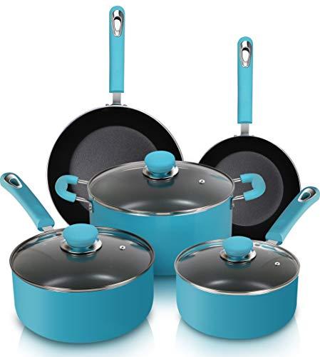 Utopia Kitchen 8 Piece Non-Stick Cookware Set - Pots and Pans Set - Double Non-Stick Coating - Even Heat Distribution - Turquoise