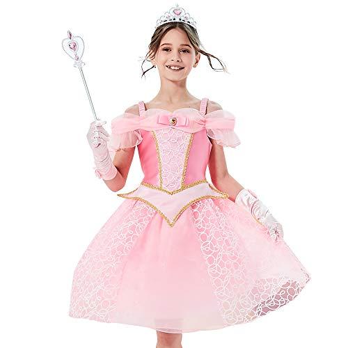 Sunny Fashion Vestido para niña Princesa Accesorios Corona Varita mágica 4 años