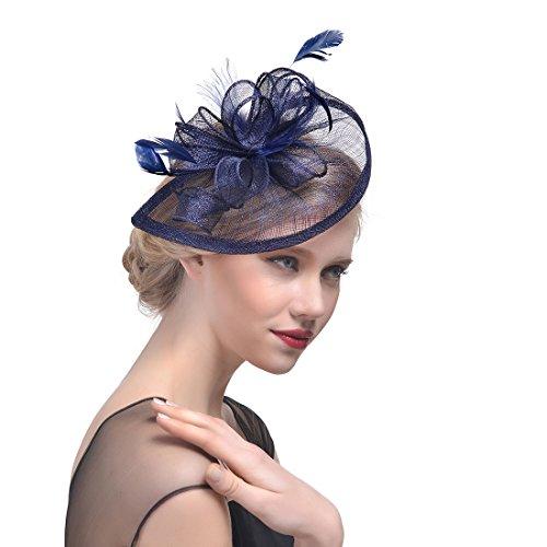 Fashband Braut Birdcage Schleier Fascinator Hut Blume Mesh Federn auf einem Stirnband und einem Clip Cocktail Tea Party Headwear Derby Kentucky Rennen Zylinder für Mädchen und Frauen (Navy blau)