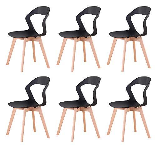GroBKau Juego de 6 sillas de comedor de plástico simple y moderno para sala de estar, comedor, oficina, sala de reuniones, restaurante, etc. (Negro-6)