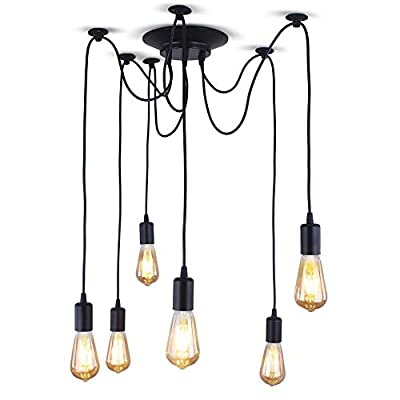 """XIUDI 6 Arms Industrial Ceiling Spider Lamp,Metal Pendant Lights Fixture,Home DIY E26 Edison Bulb Chandelier Lighting,for Coffee Shop Dining Living Room (Each with 78.74""""/2M Wire)"""