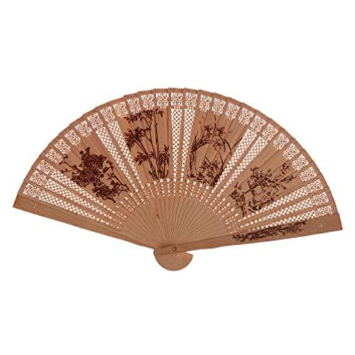 Milisten Abanico de Sándalo Abanico Plegable Chino Japonés Elegante Vintage Retro Estilo...