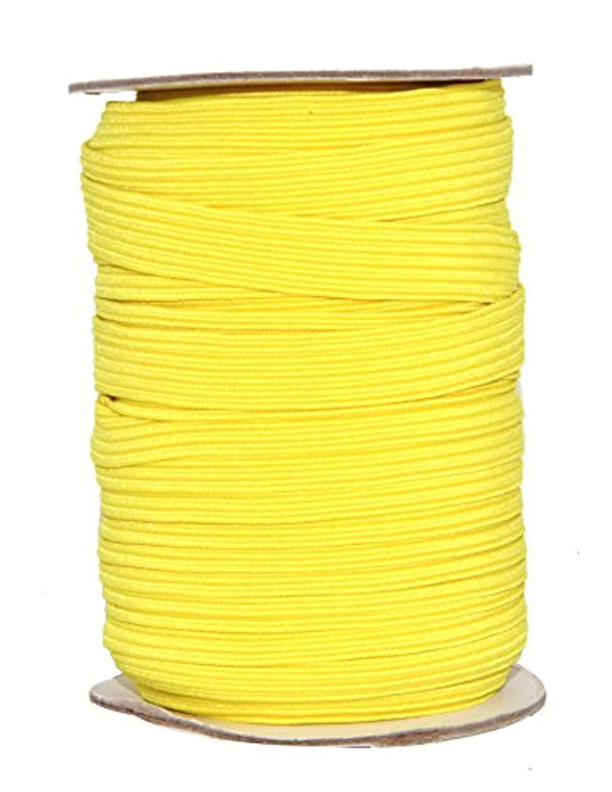 Mandala Crafts Colored Polyester Rubber Braided Flat Elastic Stretch Band Cord Spool Roll for Sewing Clothes Waistbands (1/2 Inch 12mm 20 Yards, Yellow)