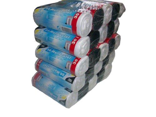 Papstar 12095 Müllbeutel, HDPE 30 L, 60 x 50 cm, 1 Karton (5 Vorteilspacks á 5 Rollen mit jew. 20 Müllbeuteln), farbig sortiert (500 Müllbeutel)