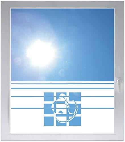 INDIGOS UG Sichtschutzfolie Glasdekorfolie Fensterfolie mit Motiv satiniert Blickdicht - E202 Liebe Ornament Kaffee Zweig - 1000 mm Länge - 500 mm Höhe Streifen