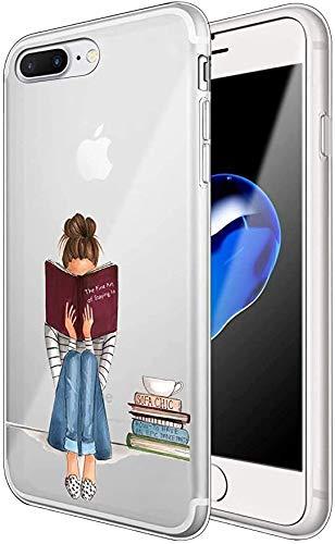AIsoar ® Case iPhone 7,iPhone 8 Coque de Protection Transparente Silicone Antichoc TPU Ultra Mince arrière Résistant aux Rayures Housse Panda Couverture (Fille Littéraire)