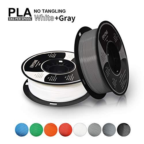 Filament PLA 1.75mm, Eryone Filament PLA 1.75mm, 3D Printing Filament PLA for 3D printer, 2kg, 2 Spools, (1kg White+1kg Grey)