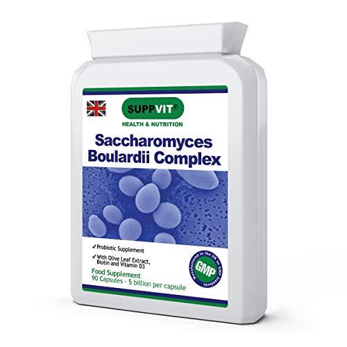 Saccharomyces Boulardii | High Strength Probiotic | 5 Billion CFU per Capsule | Olive Leaf Extract, Biotin & Vitamin D3 | Digestive & Bowel Issues | 90 Vegetarian Capsules