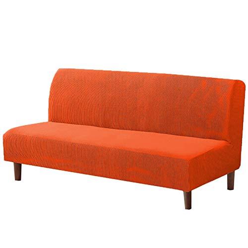 FSYGZJ Funda elástica para futón, Funda Universal para sofá sin Brazos, Funda de sofá de Tela Jacquard con Cuadros pequeños, Protector de Muebles Cove-Orange 1seat120-145cm (47-57inch)