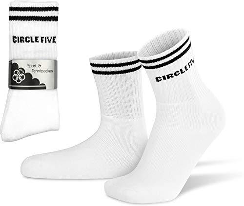 Circle Five 8 Paar Tennissocken für Sport, Arbeit, Freizeit - Robust, Langlebig - Unisex - Damen und Herren Farbe Weiß Größe 43-46