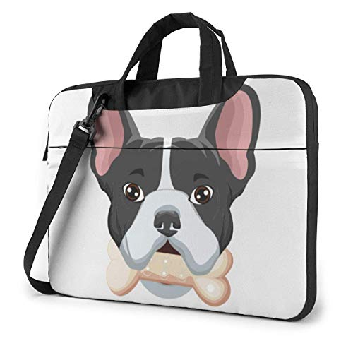 Laptop Tote Bag, Frenchie Dog Cartoon Shockproof Laptop Carrying Bag with Strap Fits 13-15.6in Notebook for Business