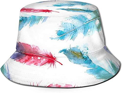 Sombrero de Cubo de Viaje con patrón geométrico Pintado en Acuarela Unisex, Gorra de Pescador de Verano, Sombrero para el Sol, Pluma a Juego de Colores Pintados en Acuarela