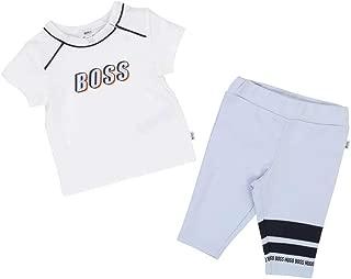 Hugo Boss Kids White Pale Blue T-Shirt and Leggings Set