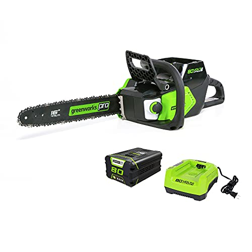 Greenworks Pro 80V 16-Inch Brushless Cordless Chainsaw, 2.0Ah Battery and Charger Included CS80L211