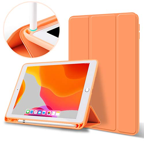 ZOYU iPad 2018/2017 Case with Pencil Holder - Lightweight Soft TPU Back Cover and Trifold Stand with Auto Sleep/Wake, for iPad 6th / 5th Generation case 9.7 inch-(Orange)