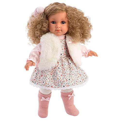 Llorens 1053530 Elena mit blonden Locken und blauen Augen, Fashion Doll mit weichem Körper, inkl. trendigem Outfit, 35cm