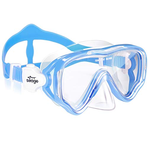 Kids Snorkel Mask Swim Diving Scuba Mask Snorkel Gear for Kids Boys Girls Youth, Anti-Fog 180° Panoramic View Soft Silicone Skirt Kids Pool Underwater Swim Goggles with Nose Cover, Snorkel Equipment