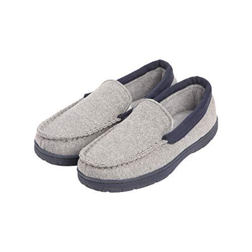 Hanes Men's Slippers House Shoes Moccasin Comfort Memory Foam Indoor Outdoor Fresh Iq, Cool Grey, Medium