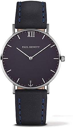 Paul Hewitt Reloj analogico para Unisex de Cuarzo con Correa en Piel PH-SA-S-St-B-11S