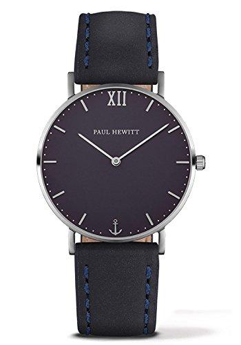 Paul Hewitt Unisex Analog Quarz Uhr mit Leder Armband PH-SA-S-St-B-11S