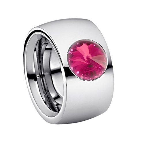Heideman Ring Damen Coma 14 aus Edelstahl Silber farbend poliert Damenring für Frauen mit Stein Kristall Rose pink im Fantasie Edelsteinschliff 10mm