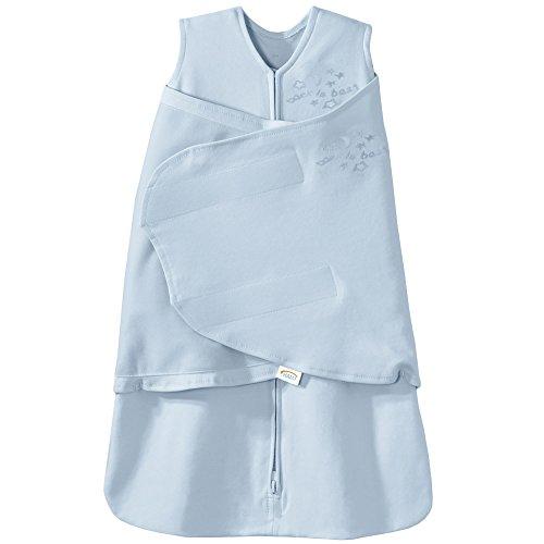 HALO 100% Cotton Sleepsack Swaddle, 3-Way Adjustable Wearable Blanket, TOG 1.5, Baby Blue, Newborn, 0-3 Months
