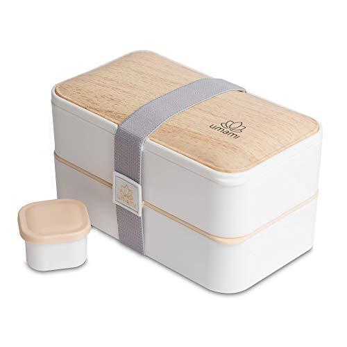 UMAMI Lunch Box, Cadeau Idéal Homme/Femme, Tout Inclus : 4 Couverts En Bois & 1 Pot À Sauce (Vissable), Boîte Bento Japonaise Hermétique 2 Étages, Micro-ondes & Lave-vaisselle, Zéro Déchet, Sans BPA