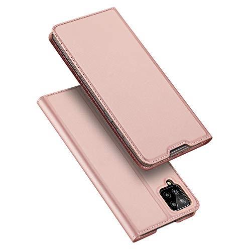 DUX DUCIS Funda Samsung Galaxy A12, PU Cuero Flip Carcasa Fundas Móvil de Tapa Libro para Samsung Galaxy A12 (Rosa Dorada)