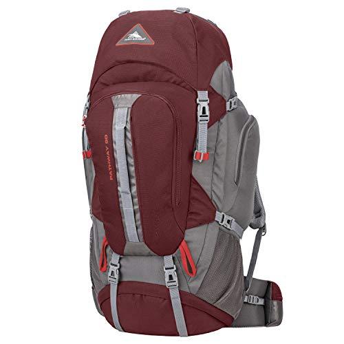 High Sierra Pathway Internal Frame Hiking Pack, Cranberry/Slate/Redrock, 90L
