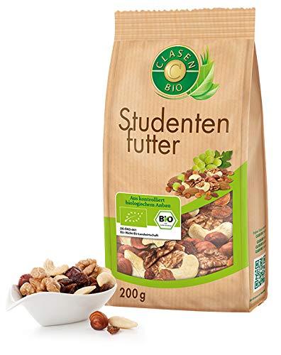CLASEN BIO Studentenfutter - 200 g, Trail Mix-, Nuss-Frucht-Mischung, von Natur aus vegan und glutenfrei, biologischer Anbau