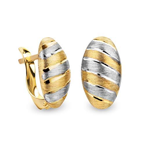 14 Karat 585 Gold Ohrringe Creolen Bicolor Matt & Glänzend Ohrschmuck – SIT15