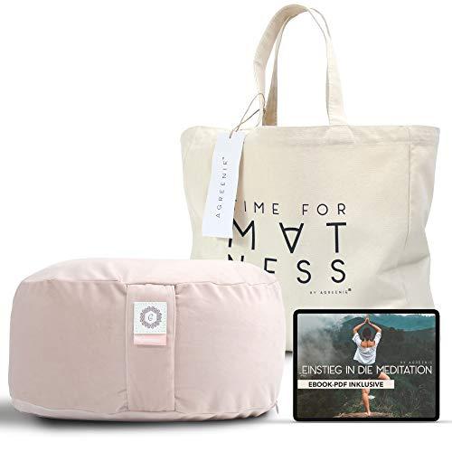 aGreenie Cuscino Yoga in Velluto - Cuscino Rotondo da Meditazione Riempito di Grano saraceno - Altezza della Seduta 15cm - Copertura Lavabile - incl. Borsa Shopper & ebook (blushy Peach)