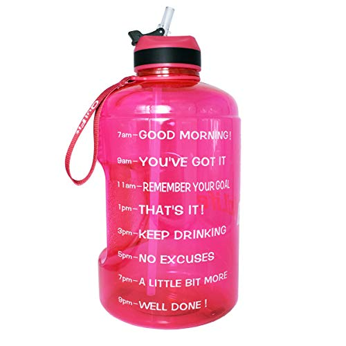 QuiFit Motivational Gallon Water Bottle - with Straw & Time Marker BPA Free Large Reusable Sport Water Jug with Handle for Fitness Outdoor Enthusiasts Leak-Proof(Hot pink,1 gallon)