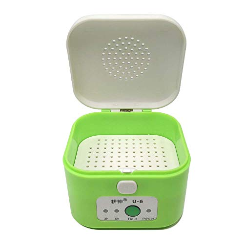 Electric Hearing Aids Dryer Case, Hearing Amplifiers Dehumidifier Box with Time Setting Function, Moisture Remover for Hearing Aids, Green