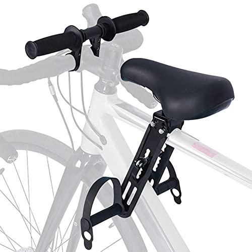 Souarts Extension de Guidon de Vélo avec des Outils Siège de vélo pour Enfant Accessoire VTT de Montagne Montés à l'avant avec Fixation de Guidon Avant Détachable Portable(Noir(siège + Guidon))